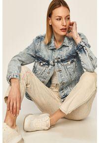 Niebieskie jeansy Diesel w kolorowe wzory, z podwyższonym stanem