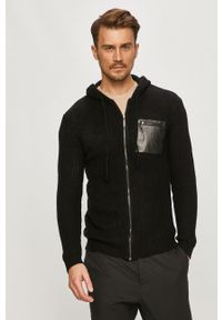 Czarny sweter rozpinany Brave Soul na co dzień, casualowy
