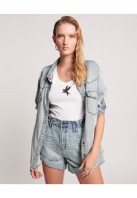 ONETEASPOON - Spodenki z wysokim stanem Pionieer. Stan: podwyższony. Kolor: niebieski. Materiał: jeans, tkanina, bawełna. Sezon: lato