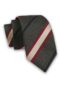 Alties - Szary Elegancki Męski Krawat -ALTIES- 6cm, Stylowy, Klasyczny, w Beżowo-Bordowo-Granatowe Paski. Kolor: czerwony, brązowy, wielokolorowy, beżowy, niebieski. Materiał: tkanina. Wzór: prążki, paski. Styl: klasyczny, elegancki