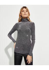 ISABEL MARANT - Metaliczny sweter z golfem. Typ kołnierza: golf. Kolor: szary. Materiał: materiał. Długość rękawa: długi rękaw. Długość: długie. Wzór: aplikacja