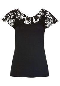 Czarna bluzka bonprix w koronkowe wzory, elegancka