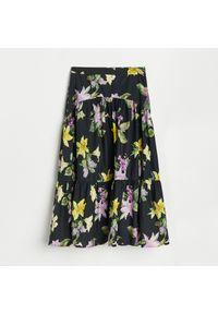 Reserved - Bawełniana spódnica midi - Czarny. Kolor: czarny. Materiał: bawełna