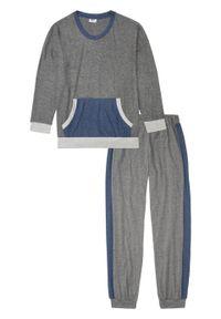 Piżama z miękkiego materiału bonprix szary melanż - niebieski indygo