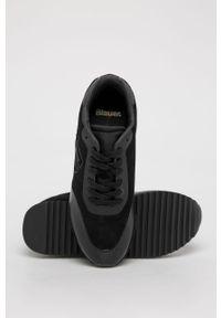 Czarne buty sportowe Blauer na średnim obcasie, z cholewką, na sznurówki, na obcasie