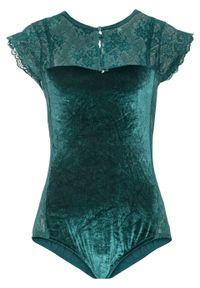 Zielone body bonprix w koronkowe wzory