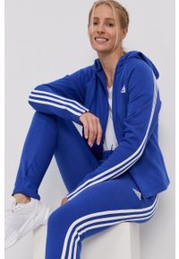 adidas Performance - Dres. Kolor: niebieski. Materiał: dresówka