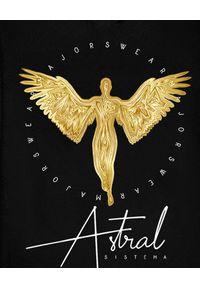 MAJORS - Bluza ze złotym nadrukiem Golden Angel. Typ kołnierza: kaptur. Kolor: czarny. Materiał: bawełna. Wzór: nadruk
