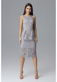 e-margeritka - Koronkowa ołówkowa sukienka bez rękawów szara - xl. Okazja: na wesele, na ślub cywilny, na sylwestra, na imprezę. Kolor: szary. Materiał: koronka. Długość rękawa: bez rękawów. Wzór: aplikacja, koronka. Typ sukienki: ołówkowe. Styl: elegancki