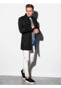 Ombre Clothing - Płaszcz męski wiosenny C269 - czarny - XXL. Typ kołnierza: kołnierzyk stójkowy. Kolor: czarny. Materiał: poliester, bawełna. Sezon: wiosna. Styl: elegancki