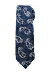 Modny i Elegancki Krawat Alties - Granatowy we Wzór Paisley. Kolor: niebieski. Materiał: tkanina. Wzór: paisley. Styl: elegancki
