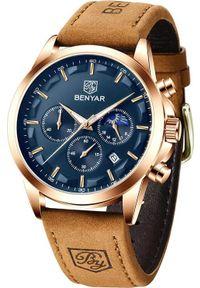 Zegarek BENYAR Excellence Złoty Granatowy (BY5160). Kolor: niebieski, wielokolorowy, złoty