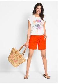 Shirt z nadrukiem bonprix biały z nadrukiem. Kolor: biały. Długość rękawa: krótki rękaw. Długość: krótkie. Wzór: nadruk
