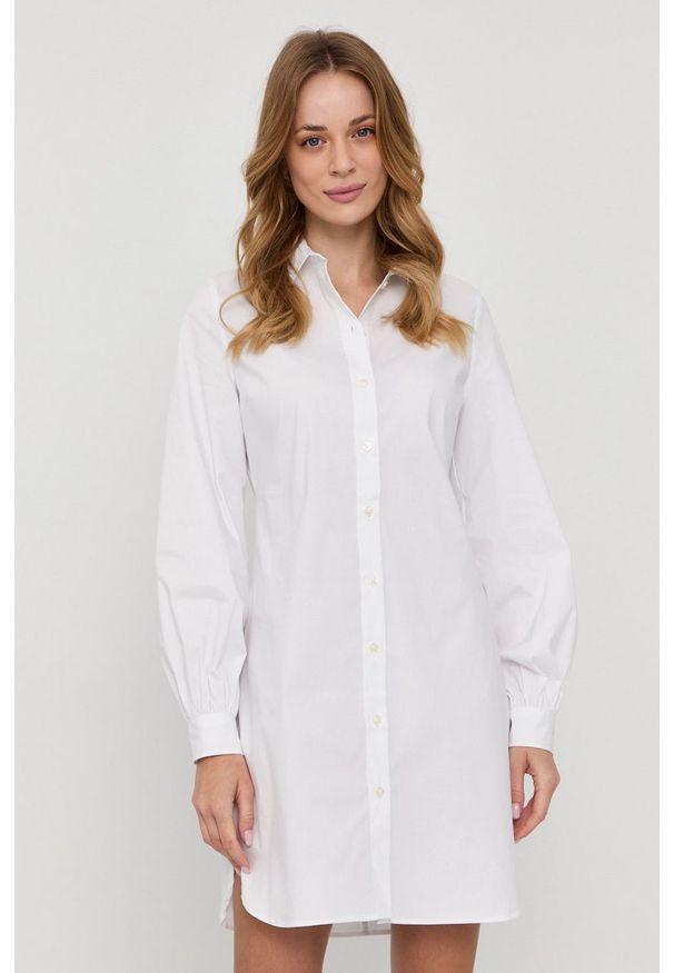 Samsoe & Samsoe - Samsoe Samsoe - Sukienka. Okazja: na co dzień. Kolor: biały. Materiał: tkanina. Długość rękawa: długi rękaw. Wzór: gładki. Typ sukienki: proste. Styl: casual