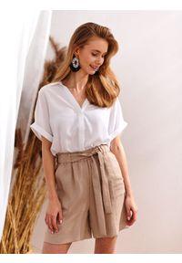Biała bluzka TOP SECRET elegancka, w kolorowe wzory