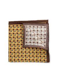 Żółta poszetka Lancerto w geometryczne wzory