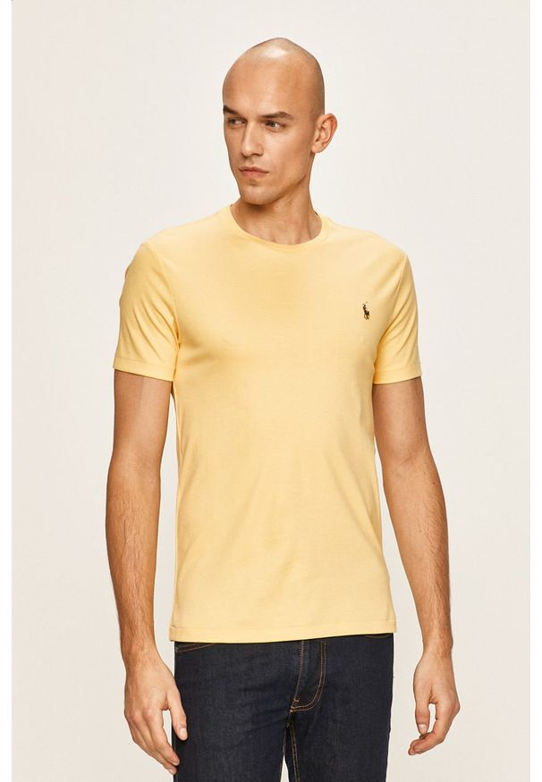 Żółty t-shirt Polo Ralph Lauren gładki, polo, casualowy