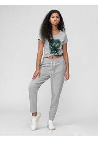 4f - Spodnie dresowe damskie. Kolor: szary. Materiał: dresówka