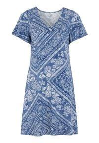 Cellbes Dżersejowa sukienka ze wzorem niebieski we wzory female niebieski/ze wzorem 50/52. Typ kołnierza: dekolt w serek. Kolor: niebieski. Materiał: jersey. Typ sukienki: rozkloszowane. Styl: elegancki