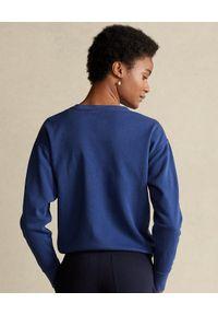Niebieska bluza bez kaptura Ralph Lauren długa, z długim rękawem
