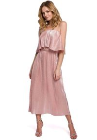 Różowa sukienka wizytowa MOE z dekoltem typu hiszpanka