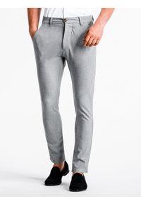Ombre Clothing - Spodnie męskie chino P832 - jasnoszare - XXL. Kolor: szary. Materiał: wiskoza, poliester, tkanina, elastan. Styl: elegancki, klasyczny