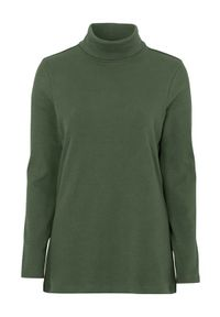 Cellbes Bawełniana bluzka z golfem w prążek. ciemnozielony female zielony 38/40. Okazja: na co dzień. Typ kołnierza: golf. Kolor: zielony. Materiał: bawełna. Długość rękawa: długi rękaw. Długość: długie. Wzór: prążki. Styl: casual