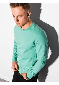 Ombre Clothing - Bluza męska bez kaptura z nadrukiem B1160 - turkusowa - XXL. Typ kołnierza: bez kaptura. Kolor: turkusowy. Materiał: bawełna, poliester. Wzór: nadruk. Sezon: lato, wiosna. Styl: klasyczny