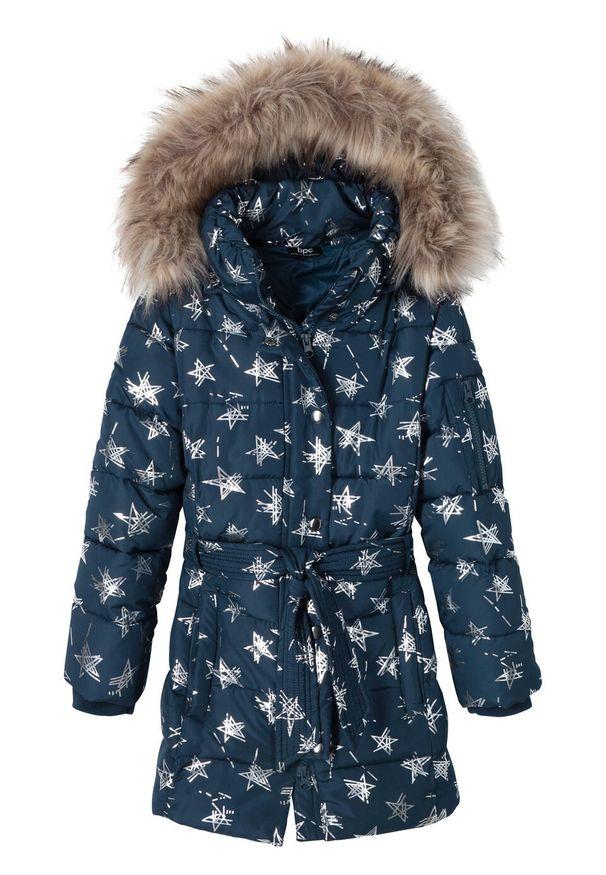 Niebieski płaszcz bonprix z kapturem, z aplikacjami, na zimę