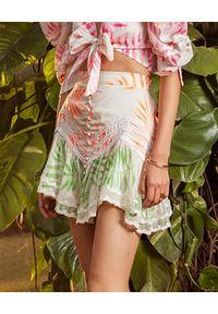 HEMANT & NANDITA - Wzorzysta spódnica mini. Okazja: na co dzień, na plażę, na imprezę. Kolor: biały. Materiał: bawełna. Wzór: haft, aplikacja. Sezon: lato. Styl: casual