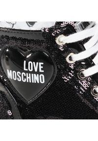 Czarne półbuty Love Moschino z cholewką, z aplikacjami, na płaskiej podeszwie