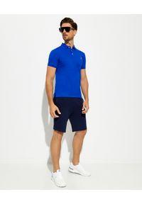 Ralph Lauren - RALPH LAUREN - Niebieska koszulka polo Mesh Slim Fit. Typ kołnierza: polo. Kolor: niebieski. Materiał: mesh. Wzór: haft, ze splotem