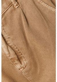 Beżowe spodnie materiałowe medicine z podwyższonym stanem