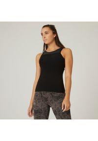 DOMYOS - Koszulka bez rękawów fitness. Kolor: czarny. Materiał: włókno, bawełna, materiał. Długość rękawa: bez rękawów. Sport: fitness