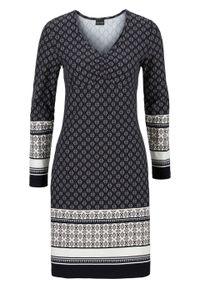 Szara sukienka bonprix z dekoltem w serek, dopasowana, z nadrukiem