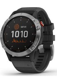 GARMIN - Zegarek sportowy Garmin Fenix 6 Solar Czarny (010-02410-00). Kolor: czarny. Styl: sportowy