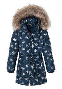 Kurtka dziewczęca zimowa w gwiazdy bonprix ciemnoniebieski. Typ kołnierza: kaptur. Kolor: niebieski. Materiał: futro. Wzór: aplikacja. Sezon: zima
