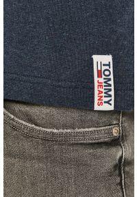 Niebieska koszulka z długim rękawem Tommy Jeans gładkie, casualowa, na co dzień