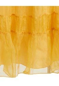 LOVE SHACK FANCY - Sukienka maxi z jedwabiu. Typ kołnierza: dekolt kwadratowy, kokarda. Kolor: żółty. Materiał: jedwab. Typ sukienki: rozkloszowane. Styl: boho. Długość: maxi