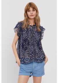 Pepe Jeans - Bluzka Letizias. Kolor: niebieski. Materiał: tkanina. Długość rękawa: na ramiączkach
