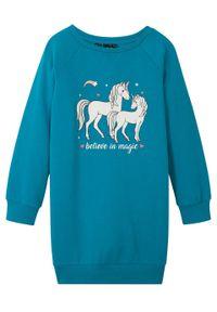 Sukienka dresowa dziewczęca z bawełny organicznej bonprix turkusowy. Kolor: niebieski. Materiał: bawełna, dresówka. Wzór: nadruk