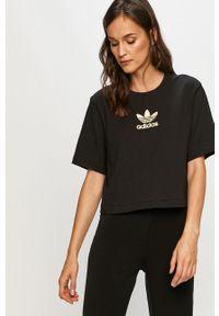 Czarna bluzka adidas Originals z aplikacjami, na co dzień