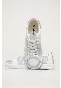 Białe buty sportowe Desigual z okrągłym noskiem, z cholewką