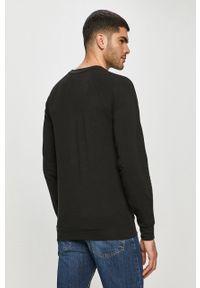 Czarna bluza nierozpinana Emporio Armani bez kaptura, na co dzień, casualowa, z aplikacjami
