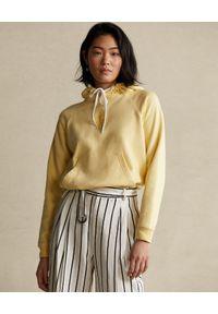 Ralph Lauren - RALPH LAUREN - Żółta bluza z logo Relaxed fit. Typ kołnierza: polo. Kolor: żółty. Materiał: bawełna. Długość rękawa: długi rękaw. Długość: długie. Wzór: aplikacja