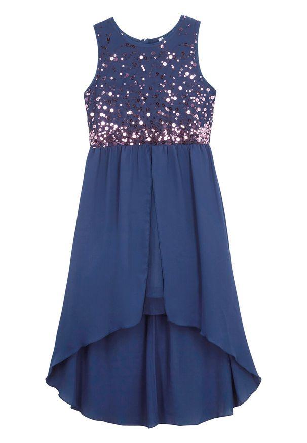 Sukienka dziewczęca na uroczyste okazje z tiulową wstawką bonprix kobaltowy. Kolor: niebieski. Materiał: tiul