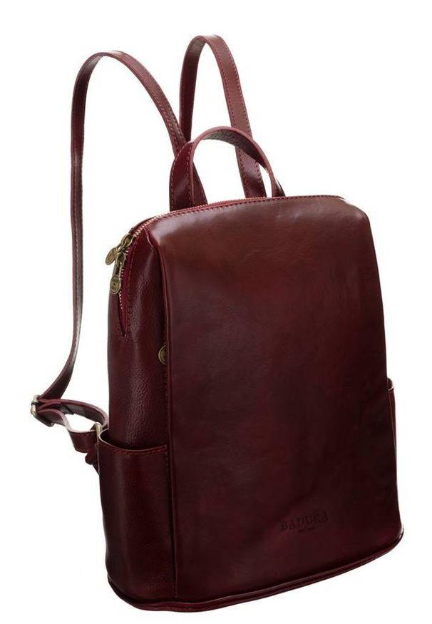 Plecak w stylu vintage bordowy Badura T_D187CR_CD. Kolor: czerwony. Materiał: skóra. Styl: vintage