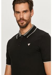 Czarna koszulka polo Guess gładkie, krótka, polo