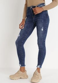 Born2be - Granatowe Jeansy Skinny Argereia. Kolor: niebieski. Długość: długie. Wzór: aplikacja