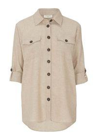 Beżowa koszula Freequent z aplikacjami, długa, klasyczna, z długim rękawem